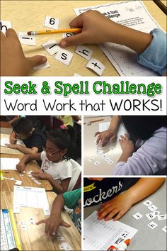 Do your students groan when it's time for spelling? Spelling might be an important subject, but it doesn't exactly inspire a passion for learning! But that might change if you introduce your kids to Seek & Spell Challenge! In fact, they might BEG for this Word Work Activities, Spelling Activities, Literacy Activities, Teaching Resources, Literacy Centres, Homeschooling Resources, Kindergarten Literacy, Early Literacy, Writing Resources