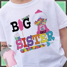 Candy Shirt - Big Sister Candy Shirt - Candyland Personalized Shirt - Big Sister Announcement Shirt - Big Sister Shirt Candyland Shirt by CustomTeesForTots on Etsy