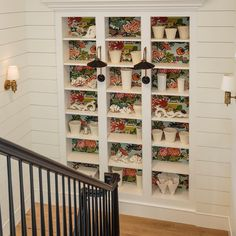 Display Shelves, Shelving, Stairs And Doors, Farmhouse Stairs, Upstairs Bathrooms, Sewing Studio, Mudroom, Bookcase, New Homes