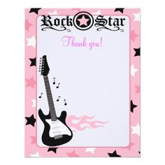 Rock Star Guitar Pink Flat Thank you note Announcements Baby Shower Invitations, Party Invitations, Rock Poster, Rock Star Party, Wildstyle, Thank You Note Cards, Star Baby Showers, Custom Cards, Paper Texture