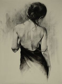 Trudy Good > Little Black Dress Girl Drawing Sketches, Art Drawings Sketches Simple, Pencil Art Drawings, Realistic Drawings, Charcoal Sketch, Charcoal Art, Figure Painting, Figure Drawing, Back Drawing