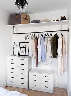 diy home decor - Creative But Simple Clothing Rack Design Ideas Diy Closets, Open Closets, Open Wardrobes, Bedroom Cabinets, Rack Design, Closet Designs, Small Closet Design, Diy Bedroom Decor, Home Decor