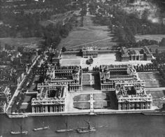 Greenwich South East London England in 1924 note the training ship in front of the main house Vintage London, Old London, East London, Greenwich Palace, Greenwich London, Royal Residence, London Places, River Thames, Maine House