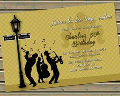 New Orleans Jazz & Fleur de Lis Invitation with Envelopes by TwinspiringDesign on Etsy
