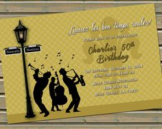 New Orleans Jazz & Fleur de Lis Invitation with Envelopes by TwinspiringDesign on Etsy