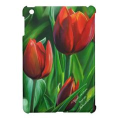 Trio of Red Tulips flower nature dedication paint iPad Mini Case