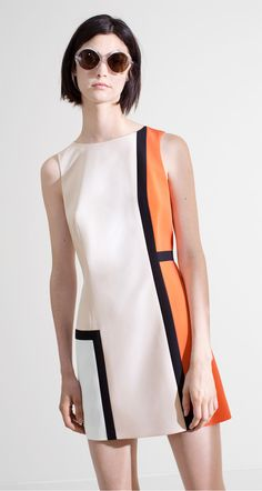 Multicolour sleeveless dress in satin-backed crepe - Dresses - Collection - Spring-summer 2016 collection