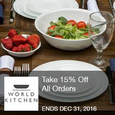 World Kitchen - 15% Off  Take 15% Off All Orders with code at ShopWorldKitchen.com!  Brought to you by http://www.imin.com and http://www.imin.com/store-coupons/world-kitchen