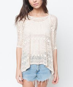 Look what I found on #zulily! Cream Crochet Hi-Low Tunic by Caralase #zulilyfinds