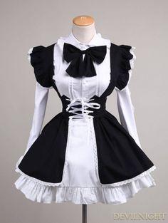 Black and White Long Sleeves Sweet Lolita Maid Dress