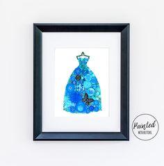 Button Art PRINT Blue Ball Gown, Fancy Blue Dress Giclee Art Print, Ball Gown Art Print, Gifts for Her, Fashion Art Print, Free Shipping
