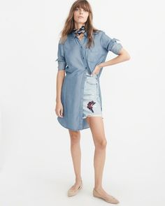 A&F Women's Chambray Shirtdress in Blue - Size XL Petite