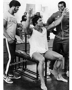 Bill Grant, Arnold and Serge Nubret at Golds Gym Venice back to 1975!!! Each lifter was a character, they hang out together, they work out…