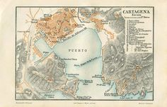 Cartagena and Environs Vintage Map Spain by CarambasVintage City Maps, Cartography, Vintage World Maps, Spain, Antiques, Illustration, Etsy, Inspiration, Cartagena