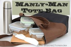 Manly-Man Tote Bag - How to Make a Reversible, Lined, Tote Bag - The Seasoned Homemaker
