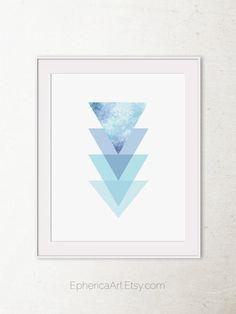 Geometric wall art, Abstract print, Modern Printable art, Sky blue decor, Triangles art, Modern art print, Digital PRINTABLE wall art print