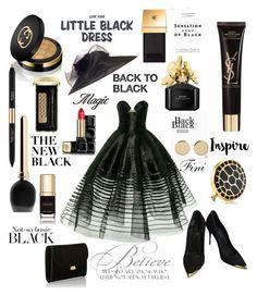 """Little black dress"" by fini-i ❤ liked on Polyvore featuring Alexander McQueen, Mansur Gavriel, Gucci, Yves Saint Laurent, Marc Jacobs, Estée Lauder, Guerlain, Chesca, Vision and Magdalena Frackowiak"