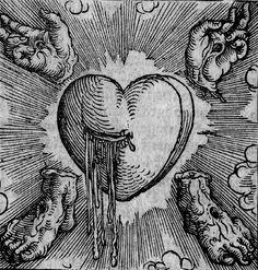 The Five Wounds of Christ. Woodcut printed by Sigmund Grimm, Augsburg, Germany, Esoteric Art, Landsknecht, Occult Art, Art Et Illustration, Medieval Art, Medieval Tattoo, Art Graphique, Memento Mori, Sacred Heart