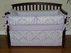 Lilac Osborne Damask & Chevron , Custom Baby Girl Crib Bedding 5 pc. Set