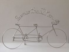 Tandem Bicycle Wedding Cake Topper Personalized With Bride And