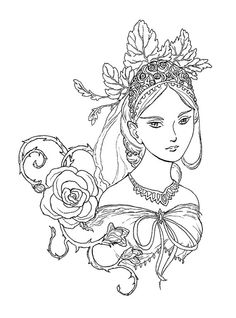 Tatiana - Fairy Queen Portrait, ink drawing, coloring page instant download digital stamp, fantasy princess,drawing,flowers