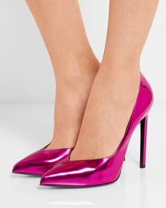 Shop Women's Saint Laurent Pink size Heels at a discounted price at Poshmark. Description: Never worn. Price is pretty firm. Open to questions! High Heels For Prom, Walking In High Heels, High Heels Stilettos, High Heel Boots, Stiletto Heels, Shoe Boots, Shoes Heels, Metallic Pumps, Metallic Leather