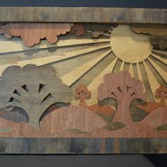 The first wood piece I ever made. This piece is roughly 4'x2' #woodworking #art #wood #nature #stain #wallart #artwork