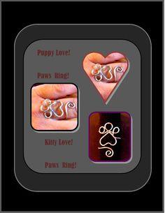 paw ringpet jewelrypawspetsdog jewelrycat by RosesWireArtJewelrY, $22.00