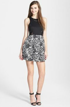 dee elle Lace Inset Racerback Skater Dress (Juniors) available at Floral Print Skirt, Floral Prints, Lace Inset, Junior Dresses, Printed Skirts, Nordstrom Dresses, Skater Dress, Dresser, Sequin Skirt