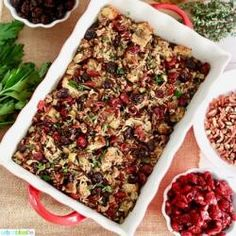 Wild Rice Dressing with Cranberries, Cherries, and Pecans Dried Cherries, Dried Fruit, Wild Rice, Cranberries, Pecans, Lasagna, Mashed Potatoes, Cherry, Dressing