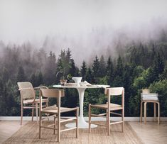 Cloudy forest wall mural from Happywall Forest Wallpaper, Tree Wallpaper, Photo Wallpaper, Wallpaper Murals, Forest Bedroom, Garden Mural, Wallpaper Ceiling, Painting Studio, Forest House