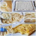 Tarta de manzana con crema y hojaldre