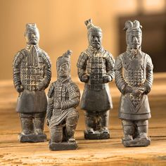 Terra-cotta Chinese Warriors - Set of 4 | National Geographic Store Terracotta Army, Terracota, China Art, Ancient China, Dark Ages, Freundlich, Fabric Covered, Unique Art, Statue