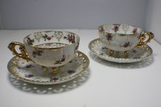 LOT OF 2 NAPCO CHINA FOOTED TEA CUP AND SAUCER RED AND PINK ROSE FLOWERS 3ED248