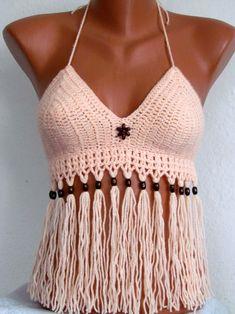 Sexy Crochet Bra, Sexy Crochet Bustier halter top ,Summer Festival ,Top Fringes Bikini Top, Swimwear, Swimsuit, Summer Wear