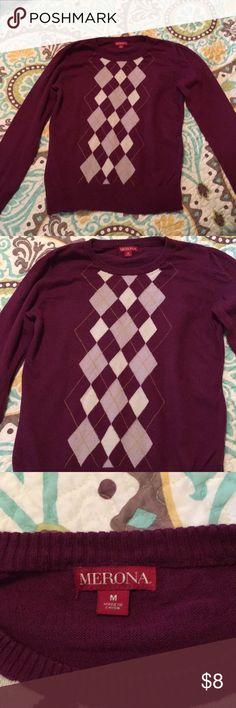 Argyle Sweater Beautiful Purple Argyle Sweater in like new condition! Merona Sweaters Crew & Scoop Necks