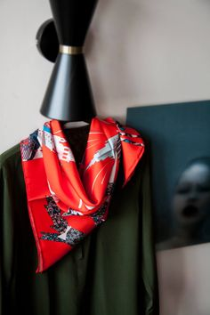"""""""Moscow stars orange"""" standard silk scarf, ispired by the architecture of modern Moscow and Kremlin stars"""