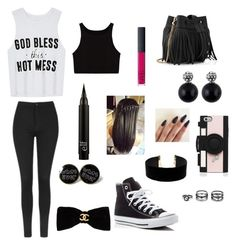 """""""God bless this Hot mess"""" by diamondluv on Polyvore featuring Topshop, Converse, Whistles, Chanel, Kate Spade, Lulu*s and NARS Cosmetics"""