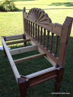 How to build a bench from an end table and headboard :)
