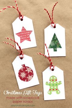 DIY Christmas Gift Tags using scrapbook paper scraps