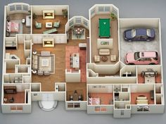 2d to 3d floor plan by Rishabh kushwaha, via Behance