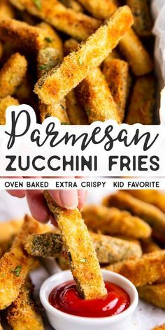 vegetable recipes Not just another vegetable side dish: Crispy Baked Parmesan Zucchini Fries are the best way to make this summer star serve with ranch or ketchup and its perfect for those picky little eaters, too! A great side dish or light lunch. Zuchinni Recipes, Vegetable Recipes, Vegetarian Recipes, Cooking Recipes, Healthy Recipes, Salad Recipes, Recipe For Baked Zucchini, Cheesy Zucchini Bake, Salsa Canning Recipes
