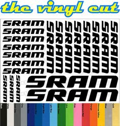 Sram Die-cut decal / sticker sheet (cycling, mtb, bmx, road, bike) #Sram
