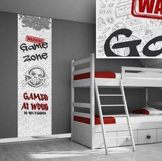 Een coole muursticker voor gamers. Maak je eigen game zone! Met deze stoere muursticker in rood en grijs tinten maak je van de tienerkamer iets bijzonders.  Muurstickerpaneel: Game zone, gamer ...