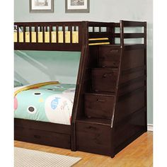 Bella Esprit Chocolate Twin Over Full Storage Bunk Bed ($730) ❤ liked on Polyvore featuring home, children's room and children's furniture