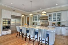 Love everything - double oven & refrigerator set up, backsplash, countertops and those barstools!!!