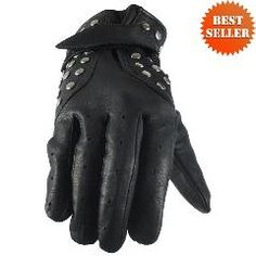 Womens Motorcycle Leather Gloves Lined & Studded GL2079