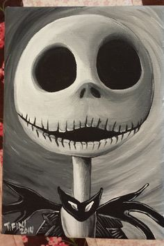 Jack Skellington - nightmare before Christmas Tim Burton Kunst, Tim Burton Art, Nightmare Before Christmas, Halloween Painting, Halloween Art, Halloween Canvas, Happy Halloween, Jack Y Sally, Jack Skellington Faces