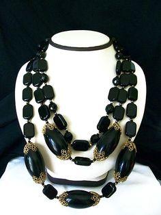 Bold Runway Vtg Miriam Haskell Black Glass Bead Triple Strand Chunky Necklace   eBay