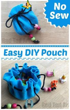 No Sew Pouch DIY - Red Ted Art - Make crafting with kids easy & fun DIY No Sew Pouch - a super cute and easy DIY for kids and grown ups alike!<br> This is a super easy No Sew Pouch DIY - perfect for storing your collectibles such as Shopkins or Marbles, also great as a money pouch or to store make up. Easy Diys For Kids, Easy Crafts To Sell, Diy Crafts For Kids, Kids Diy, Fun Crafts, Crafts Cheap, Paper Crafts, Sell Diy, Clay Crafts